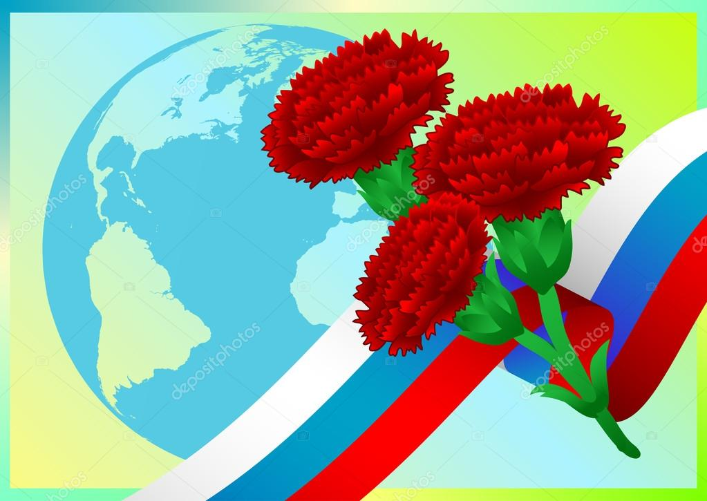 Earth globe with Russian flag and carnations on green background