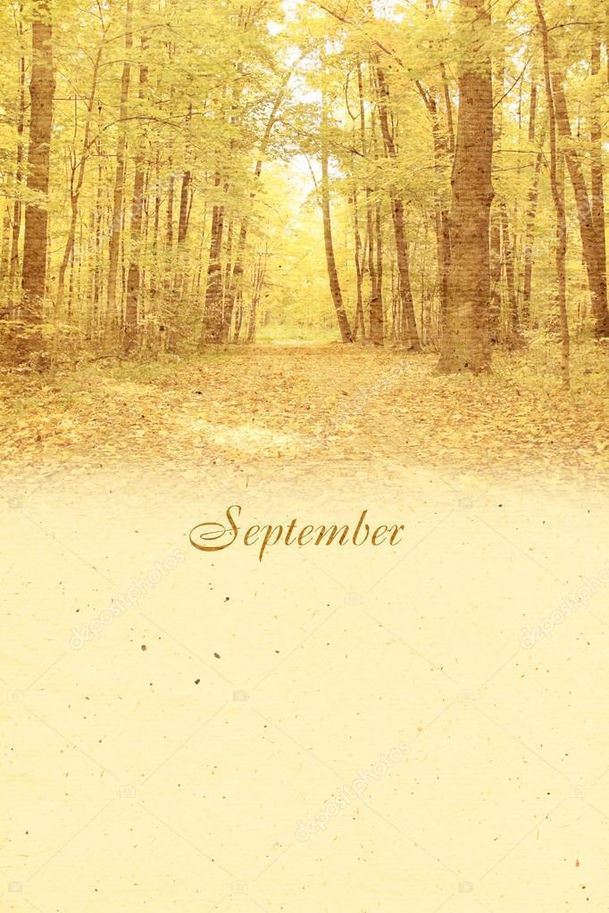 Stylized vintage background for calendar month. September