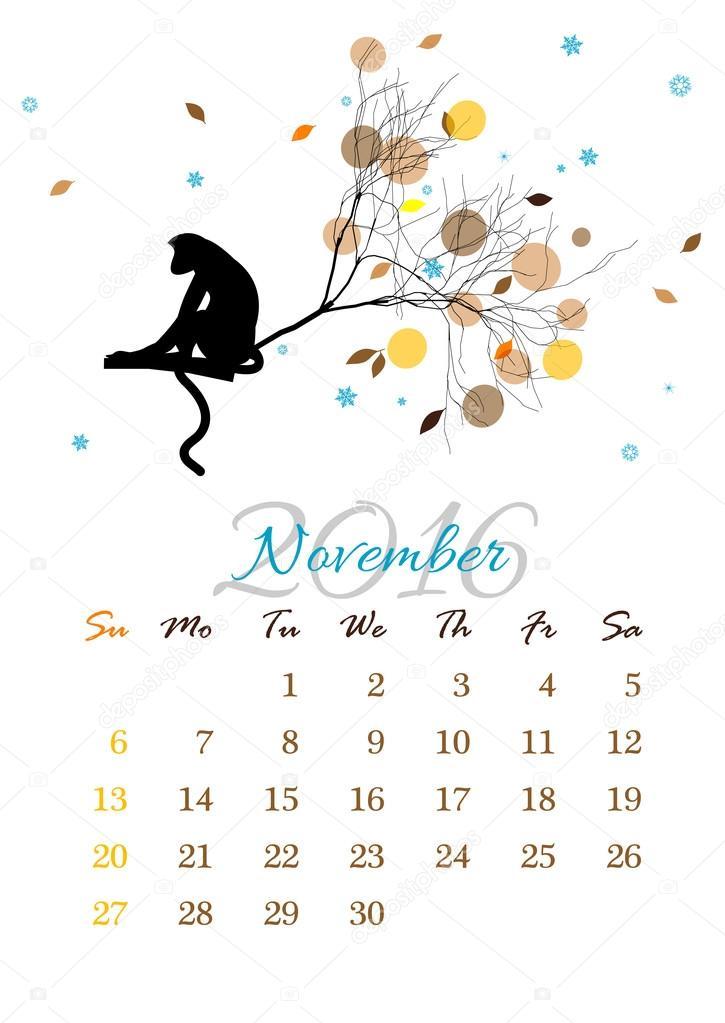 08fea548d Hoja del calendario noviembre 2016 con mono de rama de árbol — Vector de  stock