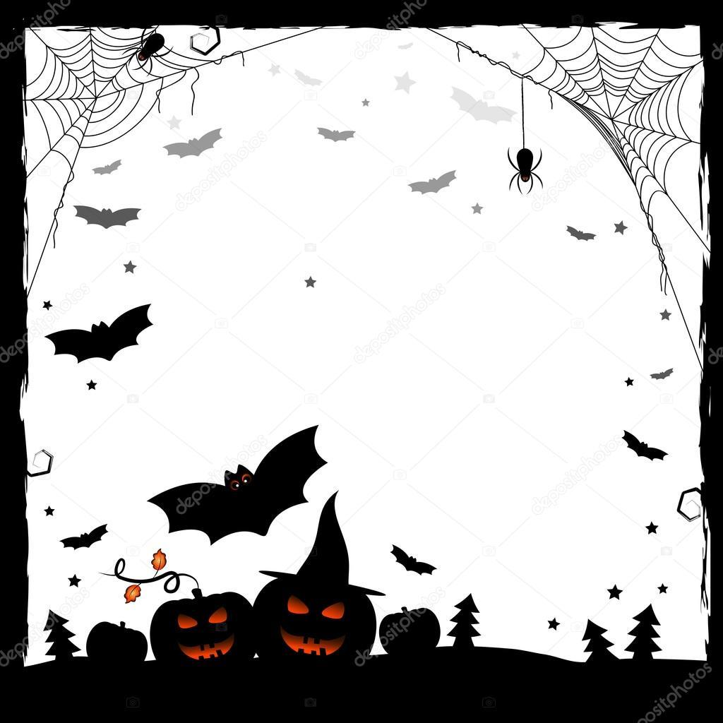 Dibujo fiesta de Halloween. Blanco y negro marco — Archivo Imágenes ...