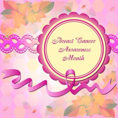 Cute card in scrapbooking style. Breast Cancer Awareness Month