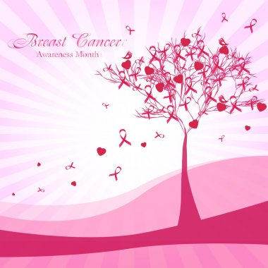 Pink tree with ribbons and hearts. Breast Cancer Awareness Month