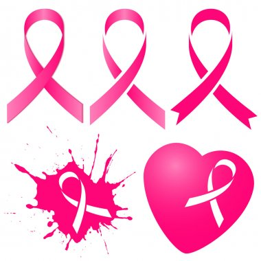 Pink ribbon in five variations. Breast Cancer Awareness Month