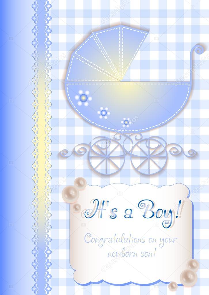 gratulationskort nyfödd pojke Kort i scrapbooking stil för hälsningar med nyfödd pojke — Stock  gratulationskort nyfödd pojke