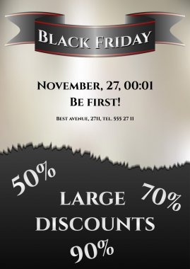 Flier for day of Black Friday. Great sale, large discounts