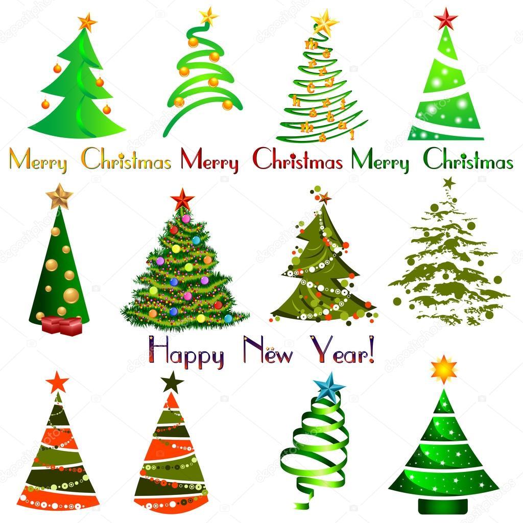 Set Di Diversi Alberi Di Natale Elegante Elementi Di Disegno