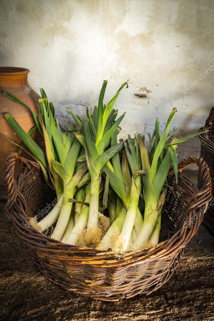 Korb mit Lauch in einer Land-Küche — Stockfoto © allouphoto #79384108