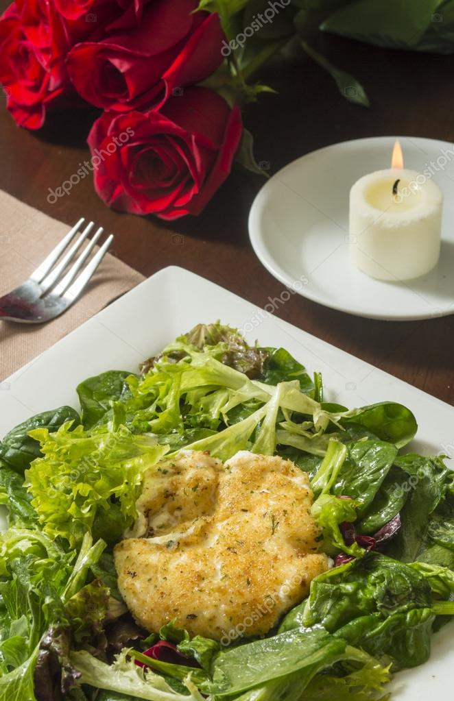 Fried goat cheese salad