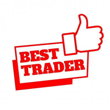 Red best trader with thumb up recommended design vector illustration tag icon