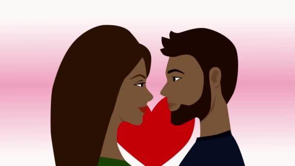 Atraktivní afroameričanka s dlouhými vlasy a mužským profilem. Dívka a chlapec se na sebe dívají s láskou. Romantika, něha, city. Šťastný Valentýn přání