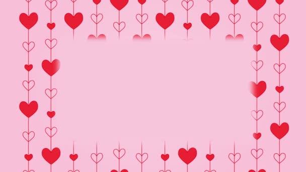 Srdce pozadí, Valentýn animované červené srdce vzor na růžovém pozadí. Svatý Valentýn blahopřání návrh pohybu karty s kopírovacím prostorem