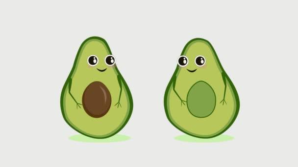 Niedliche Cartoon-Avocado-Paar Händchen haltend, Valentinstag-Karte. Niedliches Gemüse mit Händen und Herzen im Hintergrund. Keto-Ernährung, gesunder Lebensstil