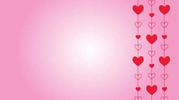 Szent Valentin-napi háttér szívvel. Mozgó animált vörös szívek rózsaszín gradiens háttér. Szent Valentin napi ünnepség, sablon üdvözlőlap másolási hellyel