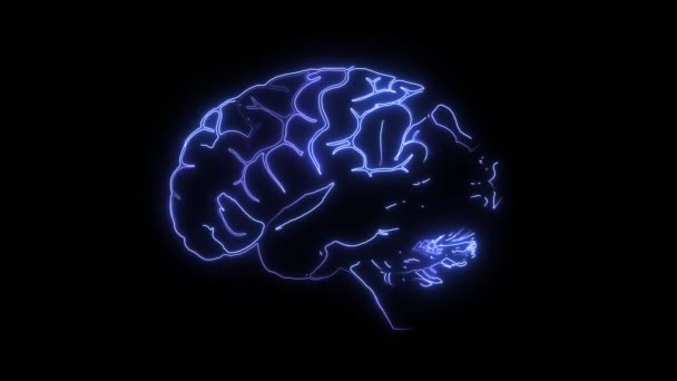 Brain in danger. Human digital brain becomes red. Mental disorder, cancer, dementia and degeneration of brain. Brain, side view isolated and glowing on black background