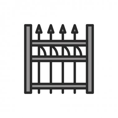 Aluminum Fence color line icon. Pictogram for web page, mobile app, promo. Editable stroke. icon