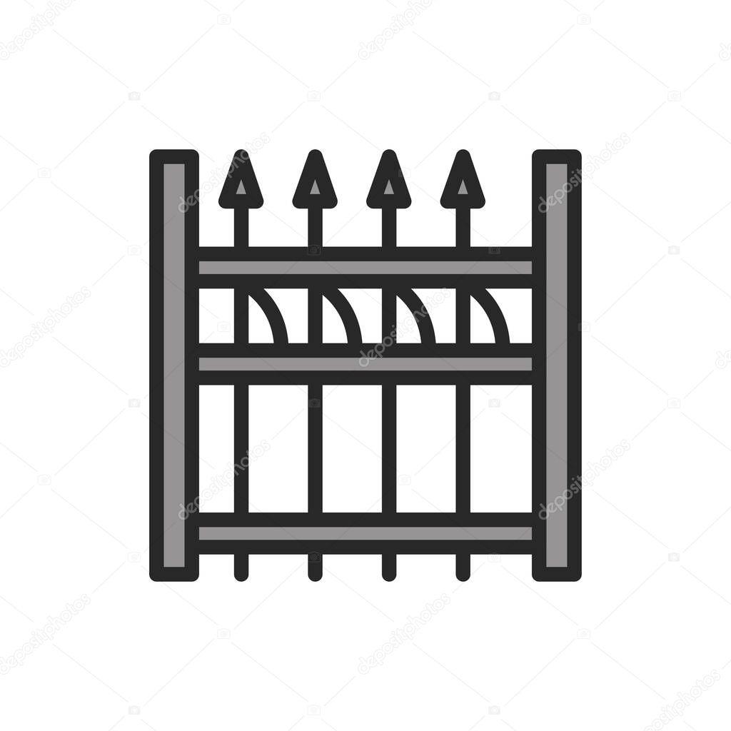 Aluminum Fence color line icon icon
