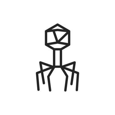 Bacteria bacteriophage black line icon. Vector illustration. icon
