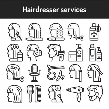 Hairdresser service black line icons set. Beauty industry. Vector illustration icon