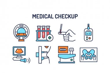Medical examination color line icons set. Outline pictograms for web page, mobile app, promo icon
