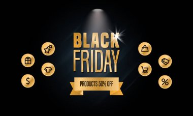 Black Friday Sale Concept Template for Prints, Banners, Posters, Social Media Posts Emails and Websites. Modern Gold Shiny Text Lettering. Icons Pack. Spotlight. Dark Background. Vector Illustration. icon