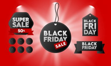 Black Friday Sale Tags and Icons Pack. Concept Template for Prints, Banners, Posters, Social Media Posts Emails and Websites. Lettering. Spotlight and Splash Light. Red Background. Vector Illustration. icon