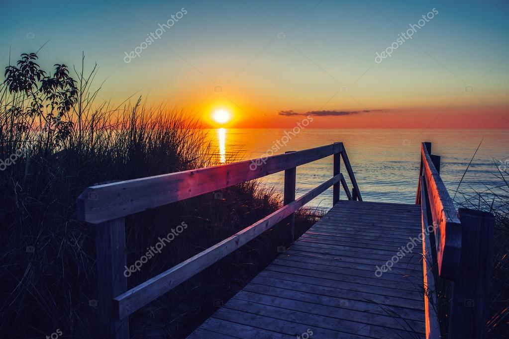Beautiful Evening Sunset Landscape At Canadian Ontario Lake Huron In Pinery Park Orange Blue Red Sky Sun Amazing Summer View On The Beach