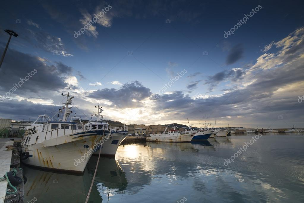 The sunset in the fishing harbor of San Benedetto del Tronto