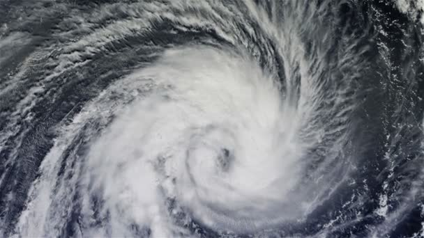 The hurricane over the ocean., satellite view.