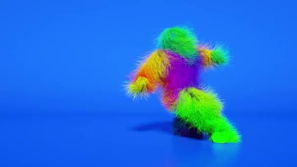 Lustige haarige bunte Monster-Mann-Figur tanzt. Pelzige Bestie mit Tanz, Fell hell lustig flauschigen Charakter, volles Haar Chewbacca, Schneemann, nahtlose Bewegungsdesign.