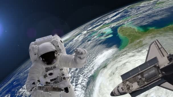 Astronaut with the tool and shuttle above the Earth