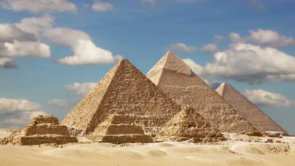 Timelapse velkých pyramid v Gíze údolí, Káhira, Egypt