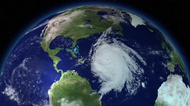 großer Hurrikan über Nordamerika. Satellitenbild.