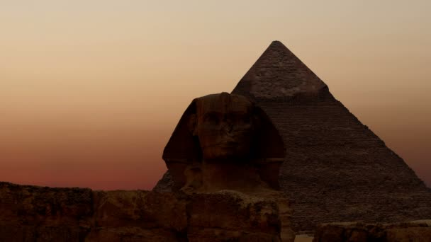 Timelapse. Sunrise over the pyramid of Cheops and Sphinx. Giza Egypt. v.2