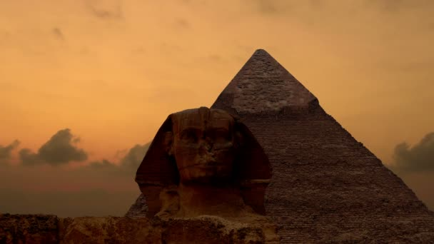 Timelapse. Sunrise over the pyramid of Cheops and Sphinx. Giza Egypt. v.3
