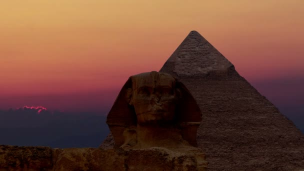 Timelapse. Sunrise over the pyramid of Cheops and Sphinx. Giza Egypt. v.4
