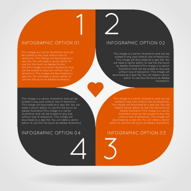 Orange square infographics options banner