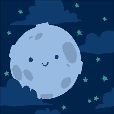 Funny moon with tiny stars