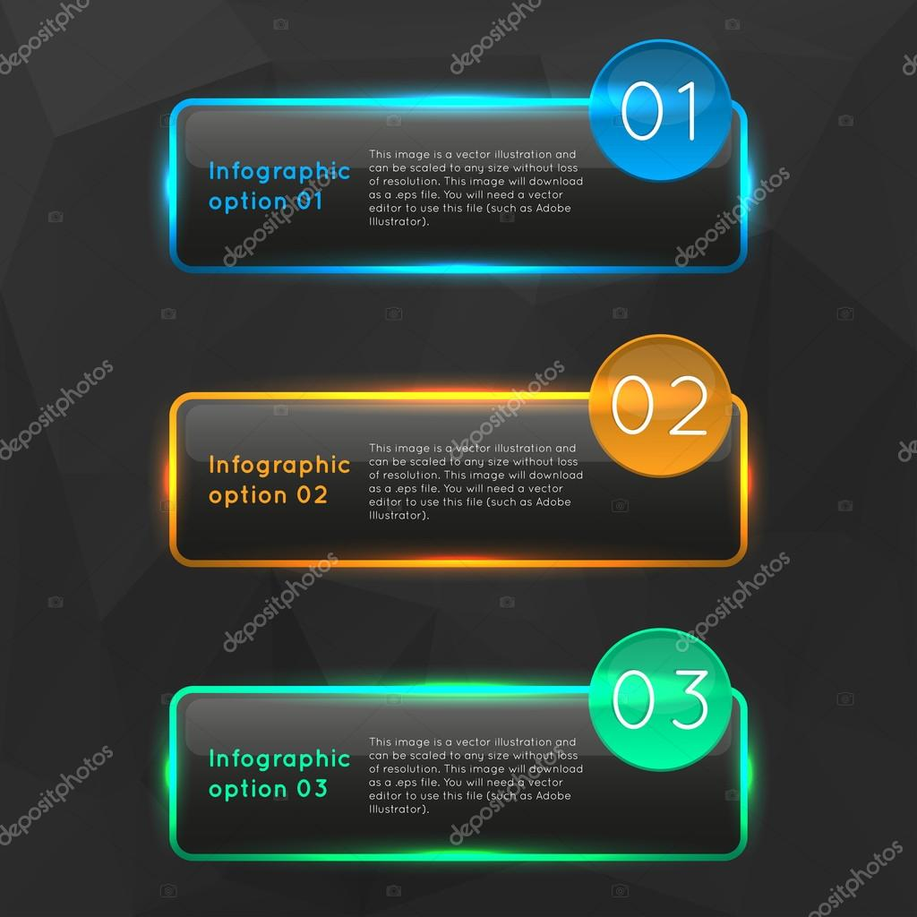 Vector colorful glowing glass infographics options banners collection set with polygonal background. clipart vector