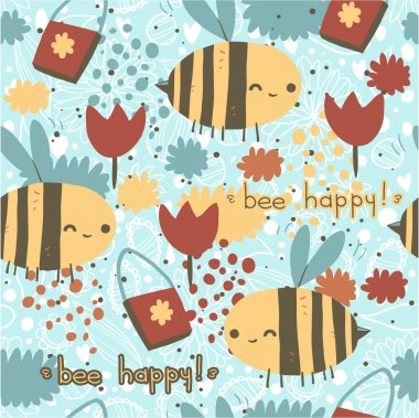 Bee happy seamless pattern.