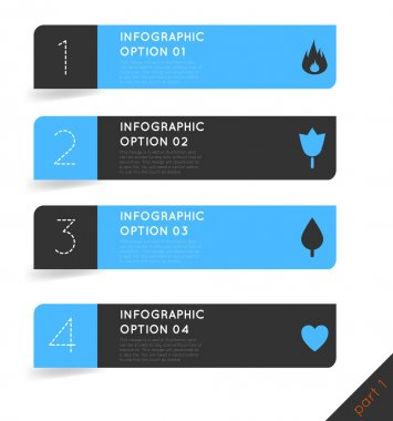 Abstract modern dark infographics options banner steps set with icons