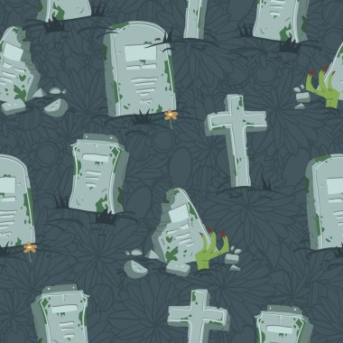 Halloween tombs seamless pattern.
