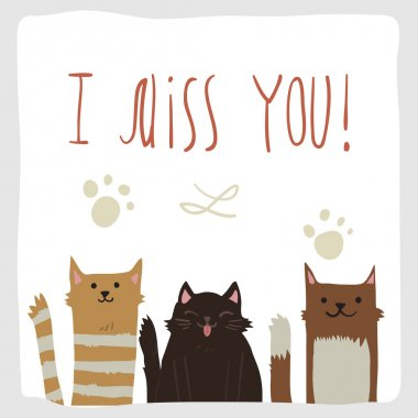 I Miss You postcard with  cats