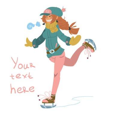 cartoon Girl on Skates.