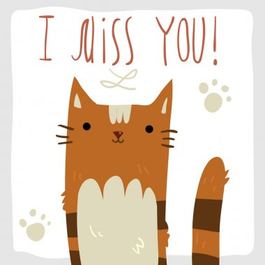 I Miss You postcard with cat.