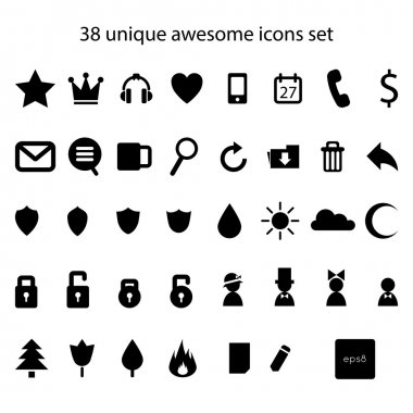 abstract awesome icons set.