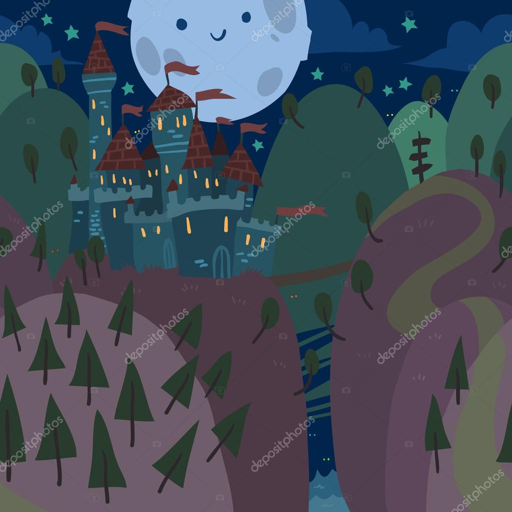 Cartoon Castle on a Hill at Night