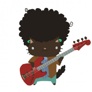 afro cat with guitar flat icon