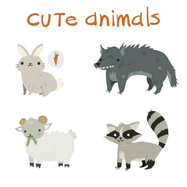Cartoon set of animals