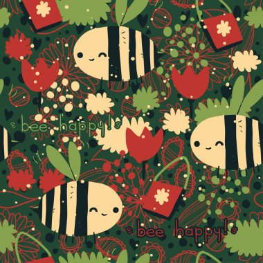 Merry Christmas Bee happy pattern