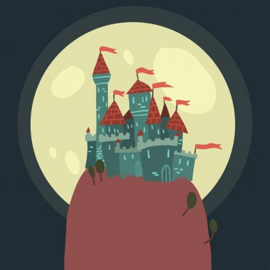 Cartoon Castle on a Hill flat icon